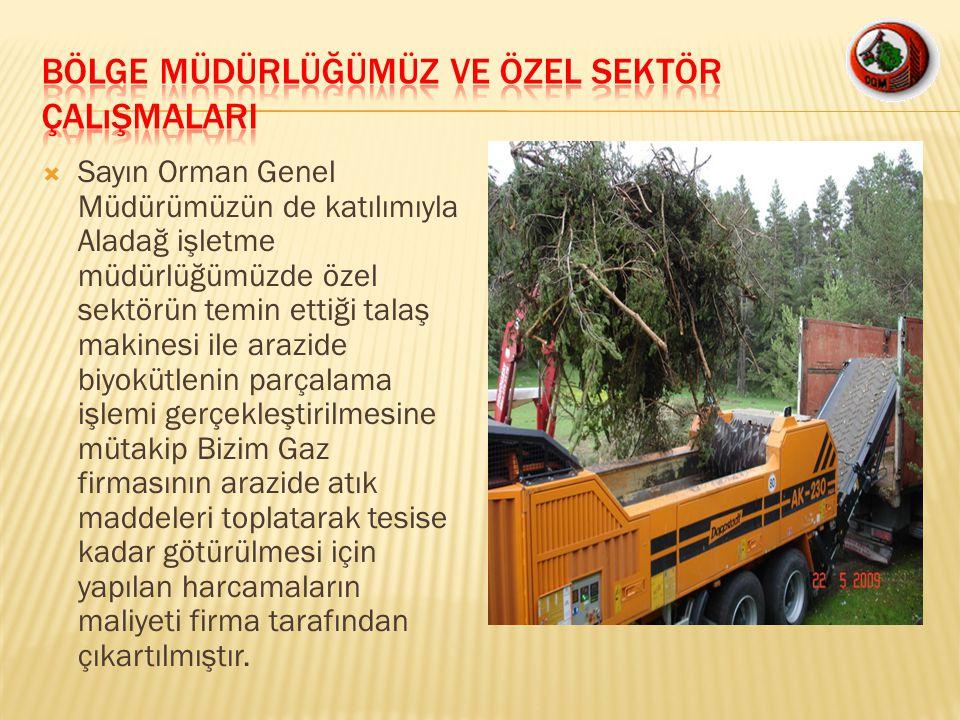  Sayın Orman Genel Müdürümüzün de katılımıyla Aladağ işletme müdürlüğümüzde özel sektörün temin ettiği talaş makinesi ile arazide biyokütlenin parçal