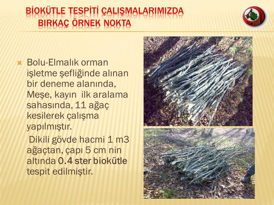  Bolu-Elmalık orman işletme şefliğinde alınan bir deneme alanında, Meşe, kayın ilk aralama sahasında, 11 ağaç kesilerek çalışma yapılmıştır. Dikili g