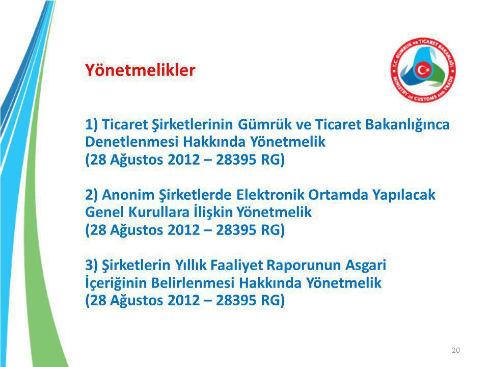Yönetmelikler 1) Ticaret Şirketlerinin Gümrük ve Ticaret Bakanlığınca Denetlenmesi Hakkında Yönetmelik (28 Ağustos 2012 – 28395 RG) 2) Anonim Şirketlerde Elektronik Ortamda Yapılacak Genel Kurullara İlişkin Yönetmelik (28 Ağustos 2012 – 28395 RG) 3) Şirketlerin Yıllık Faaliyet Raporunun Asgari İçeriğinin Belirlenmesi Hakkında Yönetmelik (28 Ağustos 2012 – 28395 RG) 20