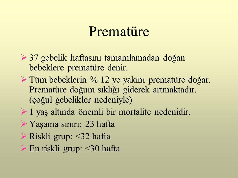 Prematüre  37 gebelik haftasını tamamlamadan doğan bebeklere prematüre denir.  Tüm bebeklerin % 12 ye yakını prematüre doğar. Prematüre doğum sıklığ