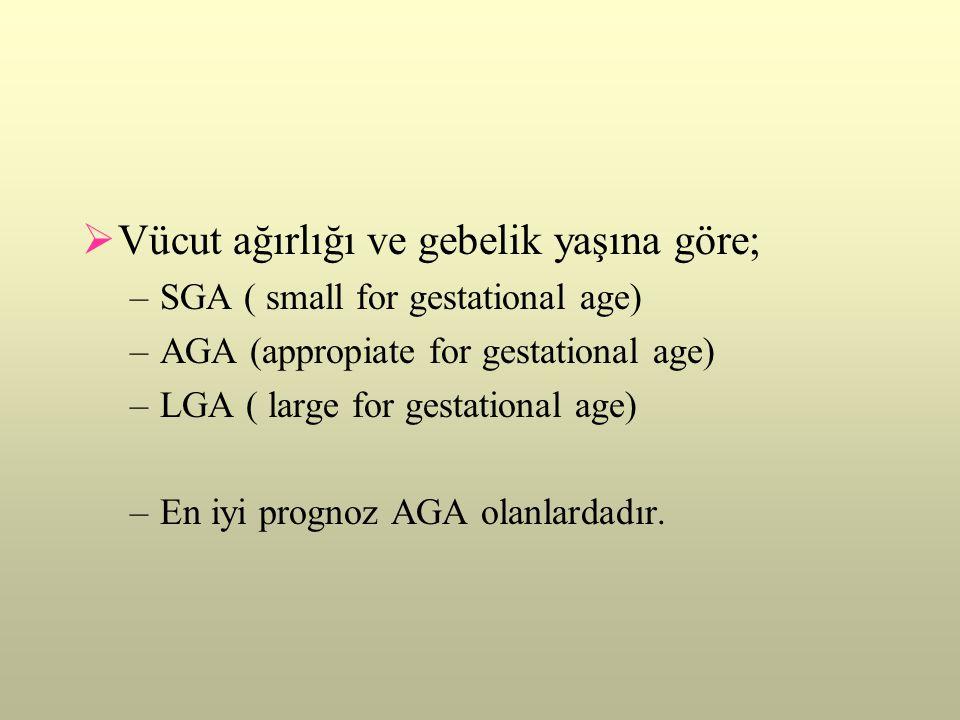  Vücut ağırlığı ve gebelik yaşına göre; –SGA ( small for gestational age) –AGA (appropiate for gestational age) –LGA ( large for gestational age) –En