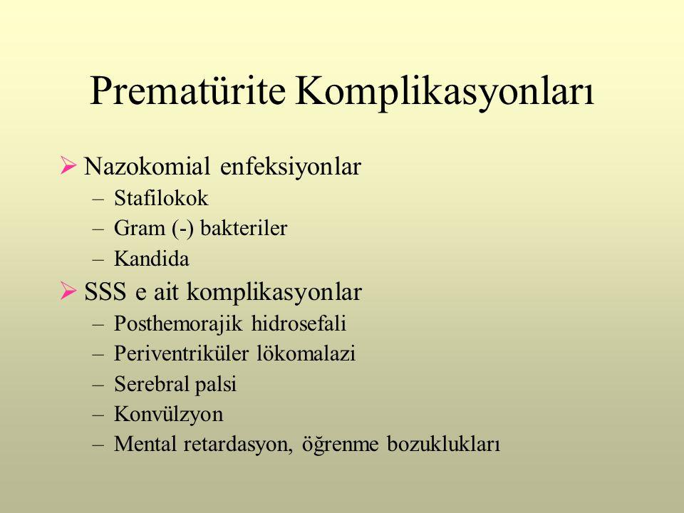 Prematürite Komplikasyonları  Nazokomial enfeksiyonlar –Stafilokok –Gram (-) bakteriler –Kandida  SSS e ait komplikasyonlar –Posthemorajik hidrosefa
