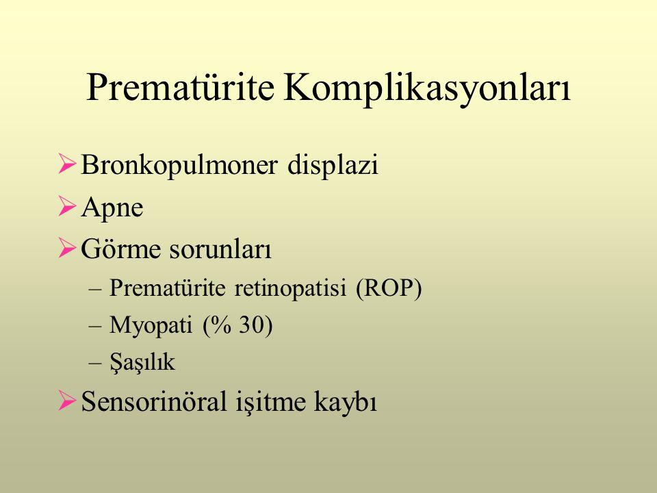 Prematürite Komplikasyonları  Bronkopulmoner displazi  Apne  Görme sorunları –Prematürite retinopatisi (ROP) –Myopati (% 30) –Şaşılık  Sensorinöra