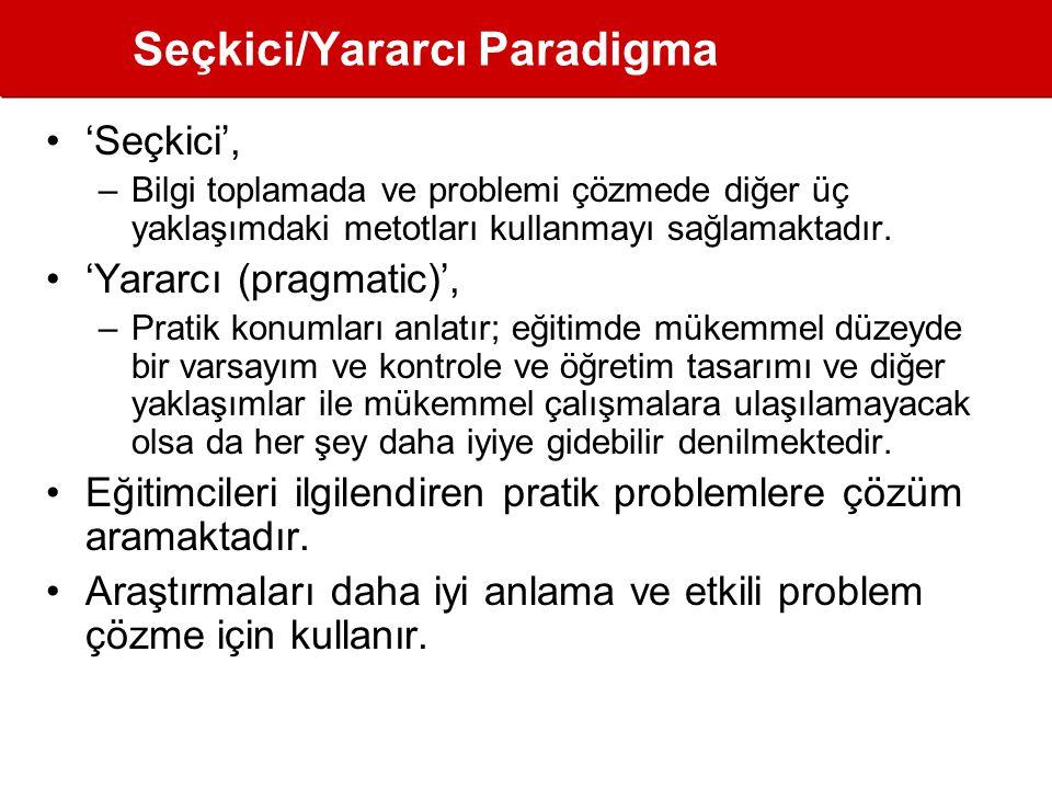 Seçkici/Yararcı Paradigma •'Seçkici', –Bilgi toplamada ve problemi çözmede diğer üç yaklaşımdaki metotları kullanmayı sağlamaktadır.
