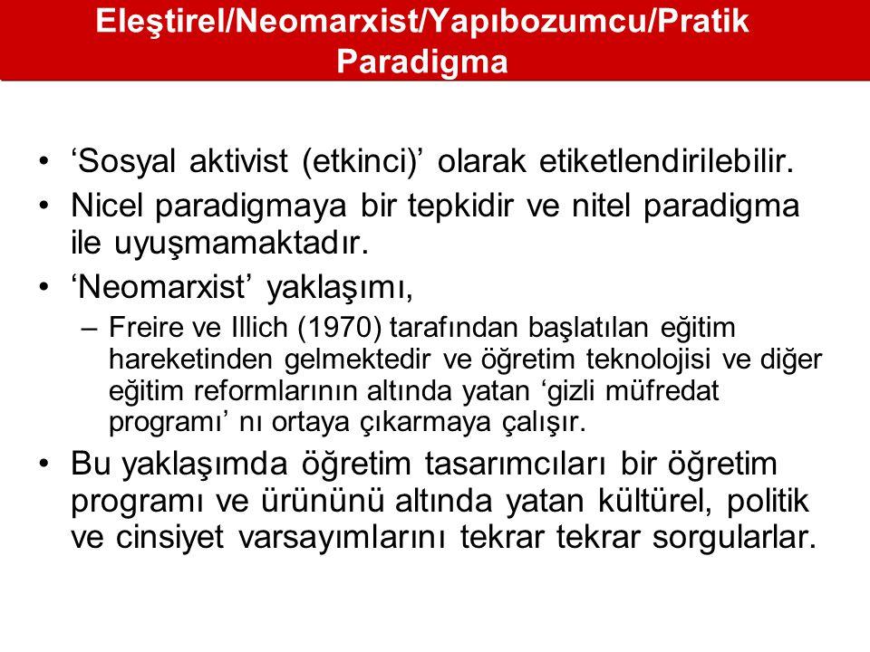 Eleştirel/Neomarxist/Yapıbozumcu/Pratik Paradigma •'Sosyal aktivist (etkinci)' olarak etiketlendirilebilir.