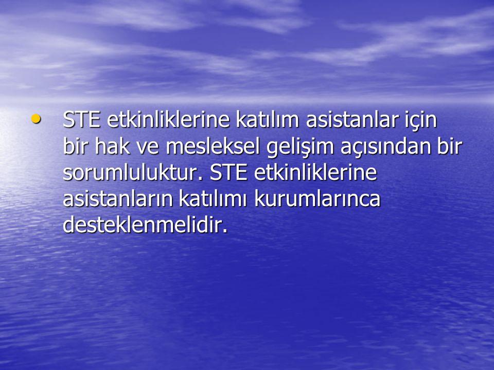 • STE etkinliklerine katılım asistanlar için bir hak ve mesleksel gelişim açısından bir sorumluluktur. STE etkinliklerine asistanların katılımı kuruml