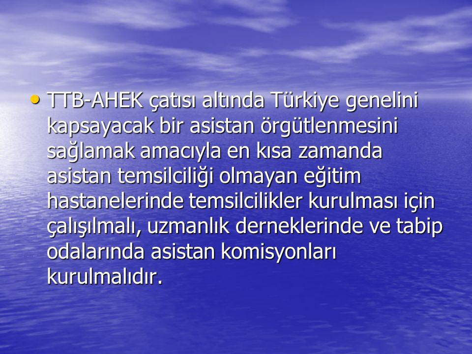 • TTB-AHEK çatısı altında Türkiye genelini kapsayacak bir asistan örgütlenmesini sağlamak amacıyla en kısa zamanda asistan temsilciliği olmayan eğitim