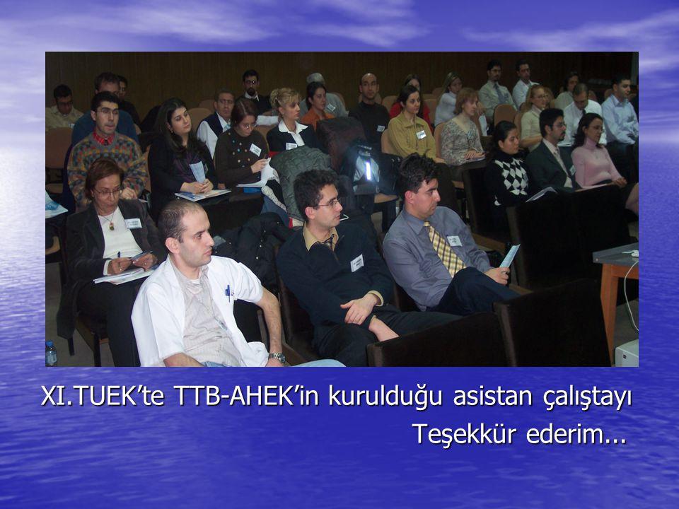 XI.TUEK'te TTB-AHEK'in kurulduğu asistan çalıştayı Teşekkür ederim... Teşekkür ederim...
