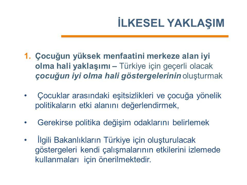 İLKESEL YAKLAŞIM 1.Çocuğun yüksek menfaatini merkeze alan iyi olma hali yaklaşımı – Türkiye için geçerli olacak çocuğun iyi olma hali göstergelerinin