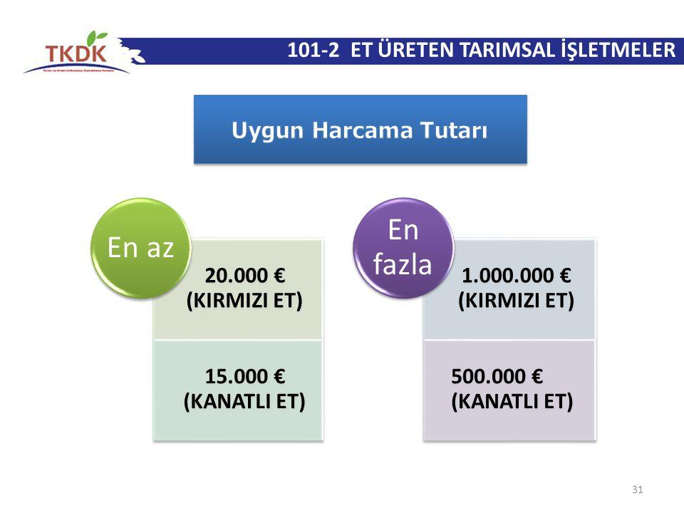 31 20.000 € (KIRMIZI ET) 15.000 € (KANATLI ET) En az 1.000.000 € (KIRMIZI ET) 500.000 € (KANATLI ET) En fazla 101-2 ET ÜRETEN TARIMSAL İŞLETMELER