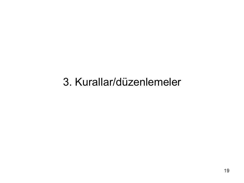 19 3. Kurallar/düzenlemeler