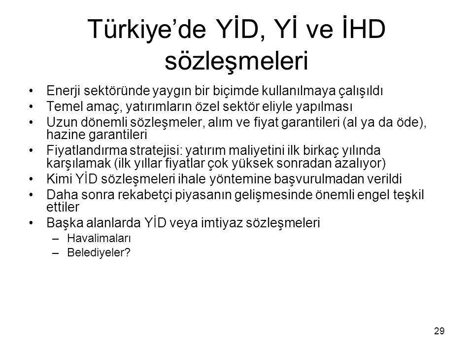 29 Türkiye'de YİD, Yİ ve İHD sözleşmeleri •Enerji sektöründe yaygın bir biçimde kullanılmaya çalışıldı •Temel amaç, yatırımların özel sektör eliyle ya