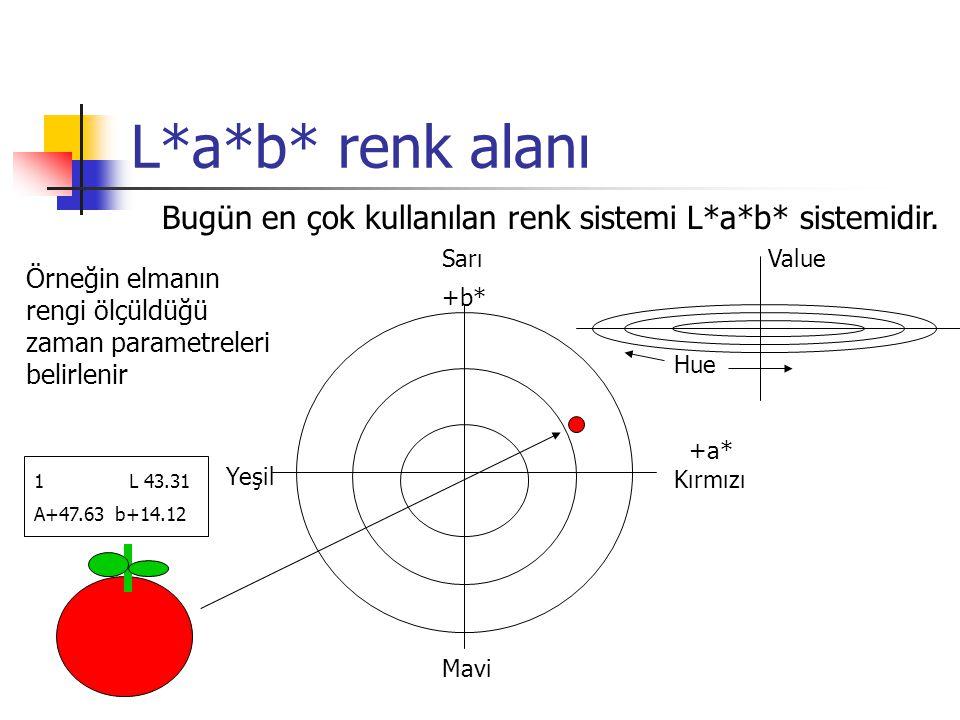 L*a*b* renk alanı Bugün en çok kullanılan renk sistemi L*a*b* sistemidir. Sarı Value +b* Hue +a* Kırmızı Mavi Yeşil 1 L 43.31 A+47.63 b+14.12 Örneğin