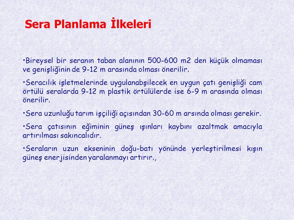 Sera Planlama İlkeleri •Bireysel bir seranın taban alanının 500-600 m2 den küçük olmaması ve genişliğinin de 9-12 m arasında olması önerilir. •Seracıl