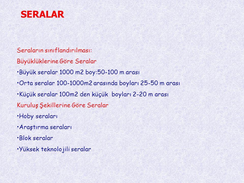 SERALAR Seraların sınıflandırılması: Büyüklüklerine Göre Seralar •Büyük seralar 1000 m2 boy:50-100 m arası •Orta seralar 100-1000m2 arasında boyları 2