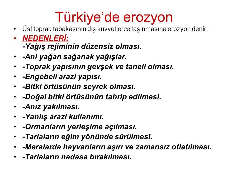Türkiye'de erozyon •Üst toprak tabakasının dış kuvvetlerce taşınmasına erozyon denir. •NEDENLERİ: -Yağış rejiminin düzensiz olması. •-Ani yağan sağana