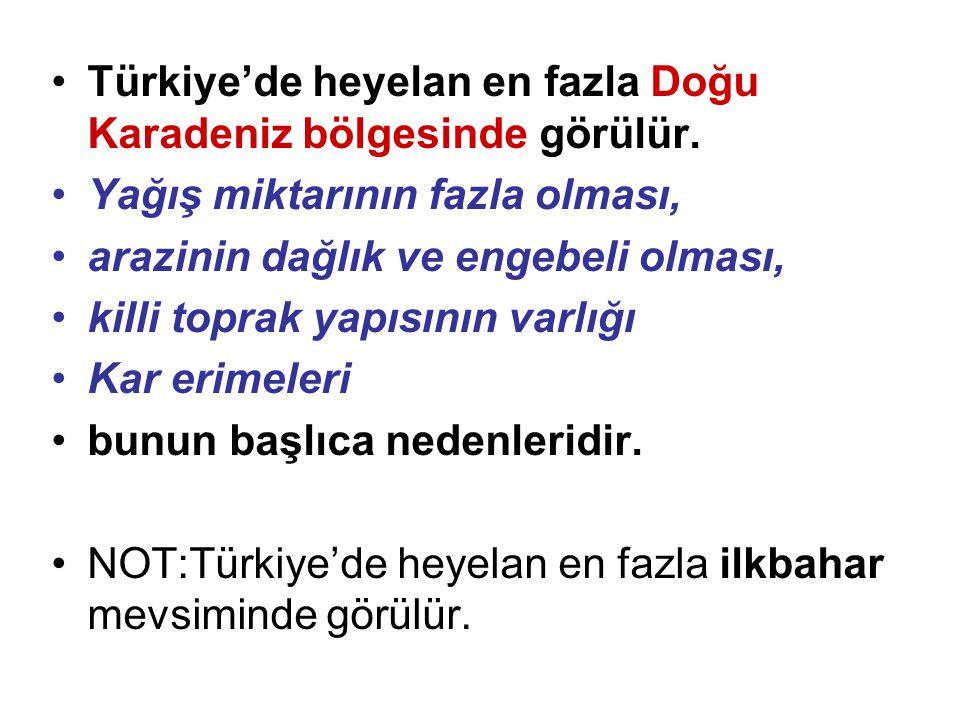 •Türkiye'de heyelan en fazla Doğu Karadeniz bölgesinde görülür. •Yağış miktarının fazla olması, •arazinin dağlık ve engebeli olması, •killi toprak yap
