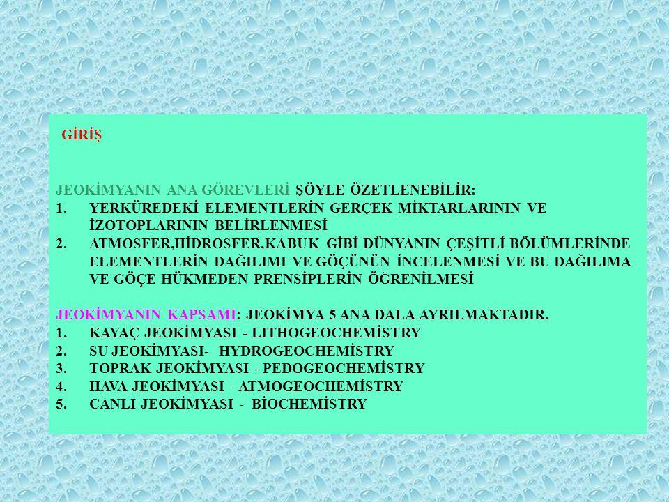 JEOKİMYANIN TARİHÇESİ *BÜYÜK TÜRK BİLGİNİ İBNİ SİNA ( 980-1037 ) TIP, FELSEFE, MANTIK,PSİKOLOJİ YANISIRA YERBİLİMLERİ İLE DE İLGİLENMİŞ VE İLK KAYAÇ SINIFLAMASINI YAPMIŞTIR.