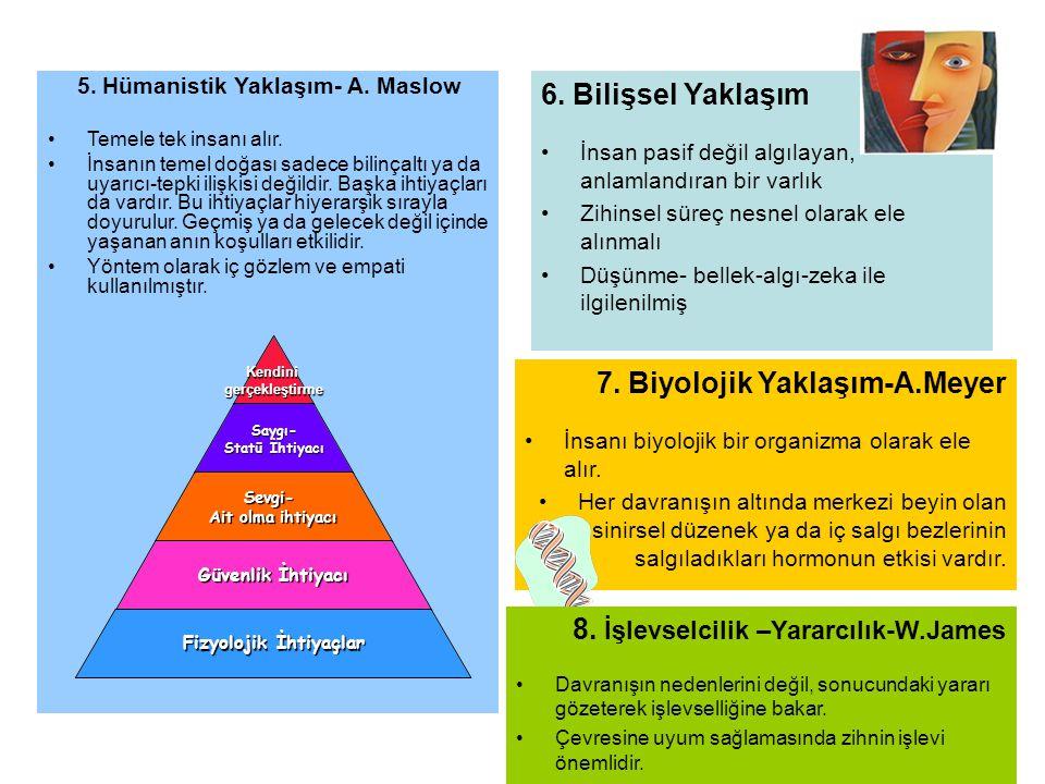 5. Hümanistik Yaklaşım- A. Maslow •Temele tek insanı alır. •İnsanın temel doğası sadece bilinçaltı ya da uyarıcı-tepki ilişkisi değildir. Başka ihtiya