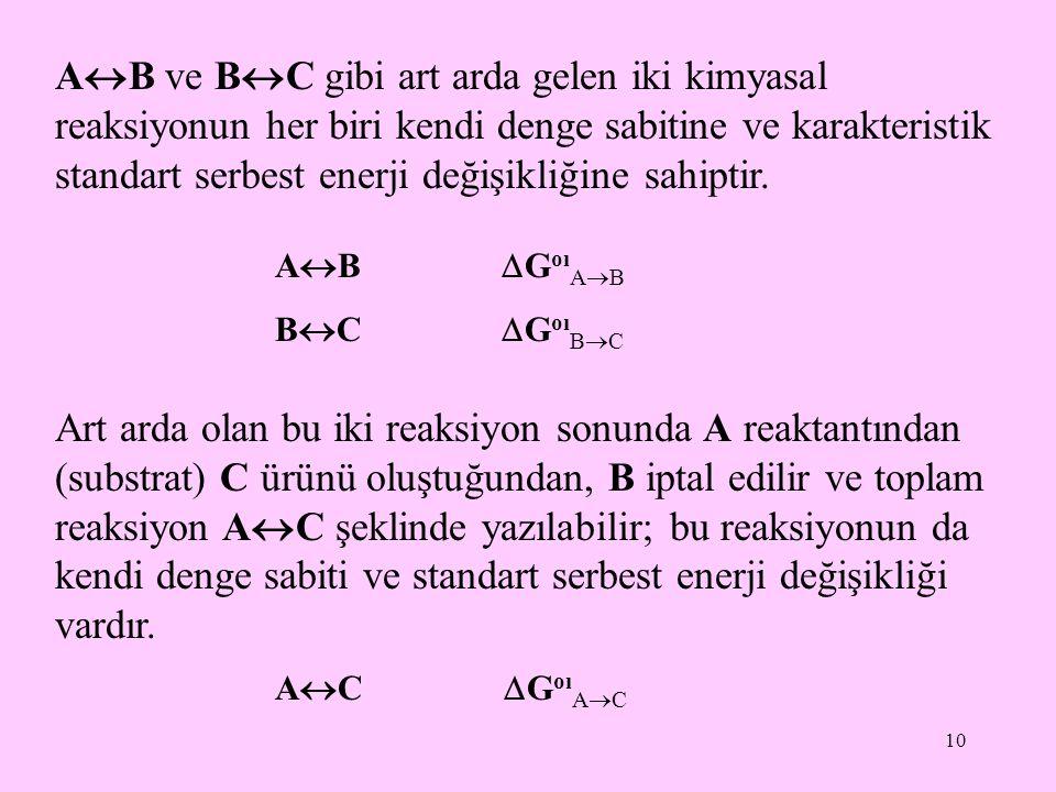 10 A  B ve B  C gibi art arda gelen iki kimyasal reaksiyonun her biri kendi denge sabitine ve karakteristik standart serbest enerji değişikliğine sa