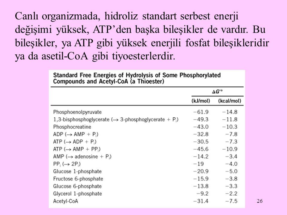 26 Canlı organizmada, hidroliz standart serbest enerji değişimi yüksek, ATP'den başka bileşikler de vardır. Bu bileşikler, ya ATP gibi yüksek enerjili