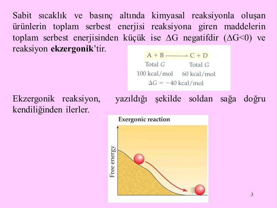 14 Glukoz + Pi  Glukoz-6-fosfat + H 2 O  G oı = 13, 8 kJ/mol ATP + H 2 O  ADP + Pi  G oı =  30, 5 kJ/mol  Glukoz + ATP  Glukoz-6-fosfat + ADP  G oı =  16, 7 kJ/mol Toplam reaksiyon ekzergoniktir.