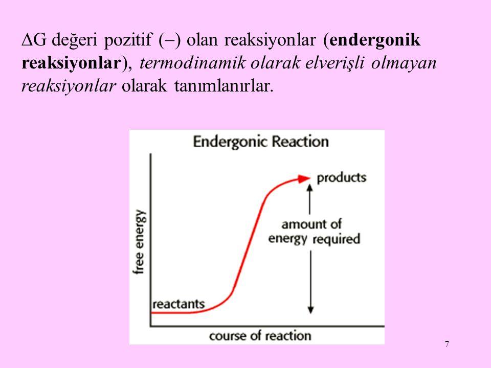 8 Sabit sıcaklık ve basınç altında kimyasal reaksiyonla oluşan ürünlerin toplam serbest enerjisi reaksiyona giren maddelerin toplam serbest enerjisine eşit ise  G sıfırdır (  G=0) ve sistem dengededir.