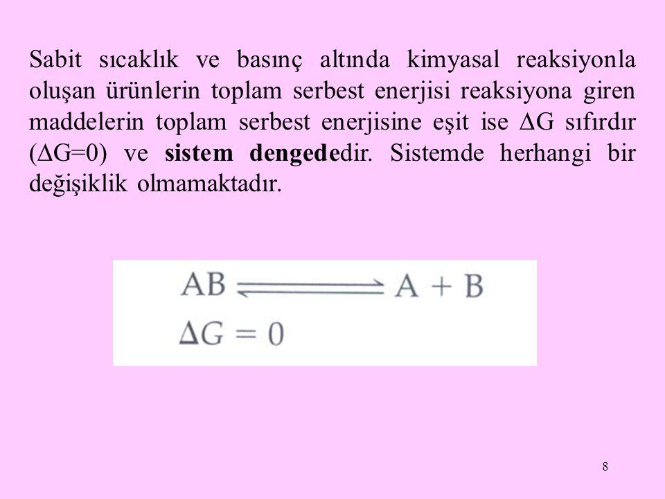 8 Sabit sıcaklık ve basınç altında kimyasal reaksiyonla oluşan ürünlerin toplam serbest enerjisi reaksiyona giren maddelerin toplam serbest enerjisine