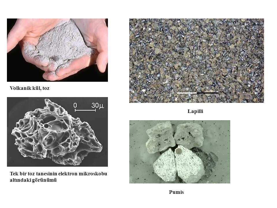Volkanik kül, toz Tek bir toz tanesinin elektron mikroskobu altındaki görünümü Lapilli Pumis
