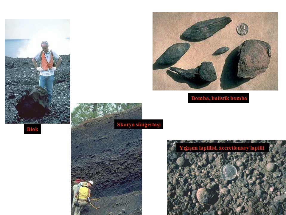 Blok Bomba, balistik bomba Skorya süngertaşı Yığışım lapillisi, accretionary lapilli