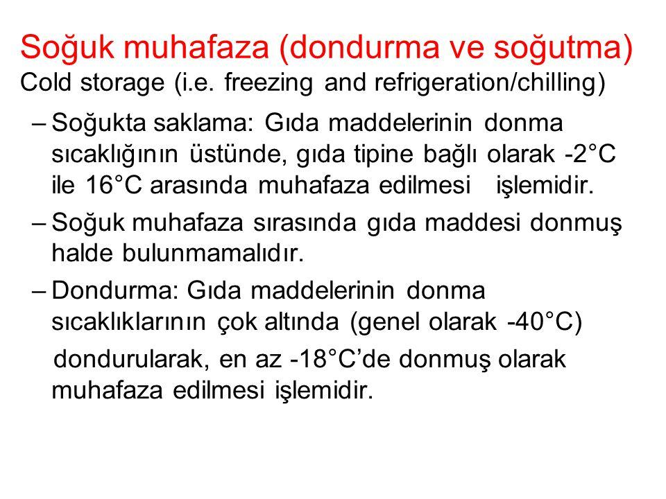 Soğuk muhafaza (dondurma ve soğutma) Cold storage (i.e. freezing and refrigeration/chilling) –Soğukta saklama: Gıda maddelerinin donma sıcaklığının üs