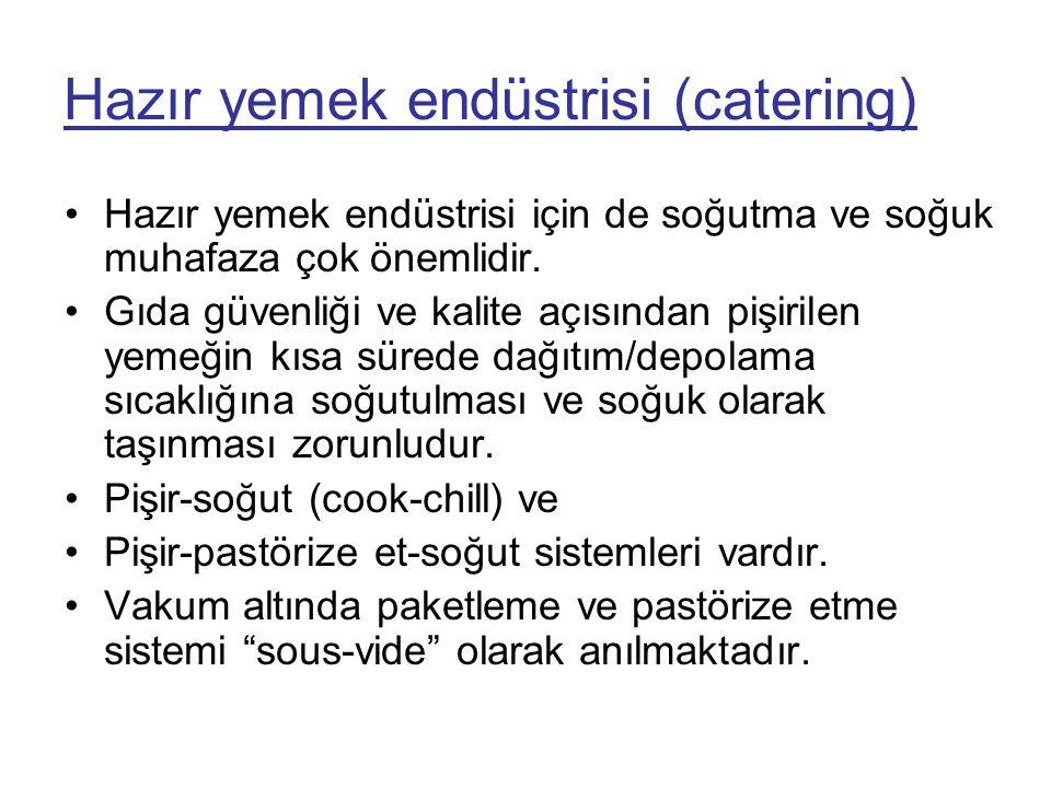 Hazır yemek endüstrisi (catering) •Hazır yemek endüstrisi için de soğutma ve soğuk muhafaza çok önemlidir. •Gıda güvenliği ve kalite açısından pişiril