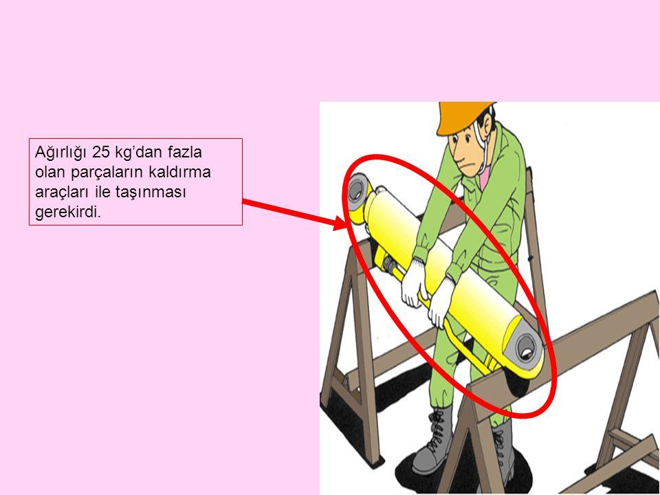 Ağırlığı 25 kg'dan fazla olan parçaların kaldırma araçları ile taşınması gerekirdi.