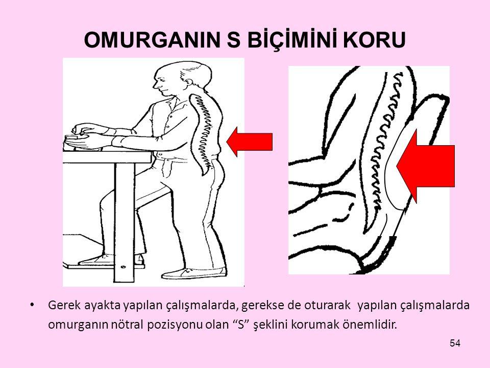 54 OMURGANIN S BİÇİMİNİ KORU • Gerek ayakta yapılan çalışmalarda, gerekse de oturarak yapılan çalışmalarda omurganın nötral pozisyonu olan S şeklini korumak önemlidir.