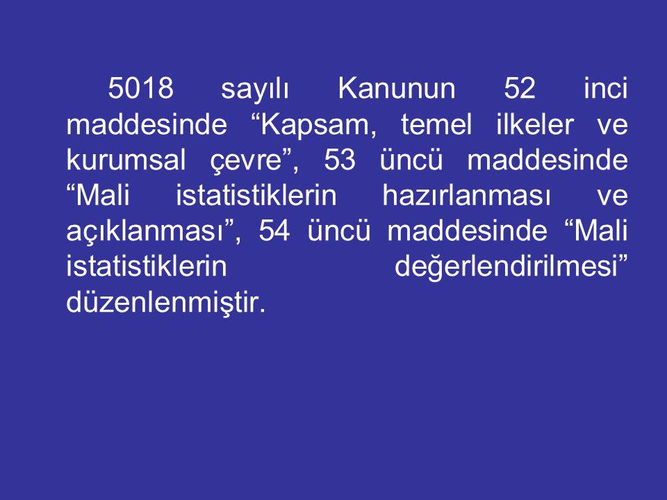 """5018 sayılı Kanunun 52 inci maddesinde """"Kapsam, temel ilkeler ve kurumsal çevre"""", 53 üncü maddesinde """"Mali istatistiklerin hazırlanması ve açıklanması"""