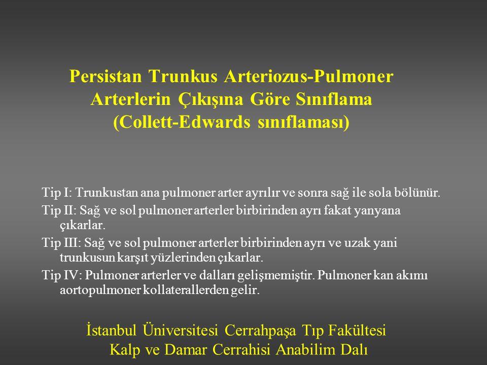 İstanbul Üniversitesi Cerrahpaşa Tıp Fakültesi Kalp ve Damar Cerrahisi Anabilim Dalı Persistan Trunkus Arteriozus-Pulmoner Arterlerin Çıkışına Göre Sı