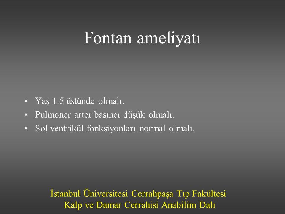 İstanbul Üniversitesi Cerrahpaşa Tıp Fakültesi Kalp ve Damar Cerrahisi Anabilim Dalı Fontan ameliyatı •Yaş 1.5 üstünde olmalı. •Pulmoner arter basıncı
