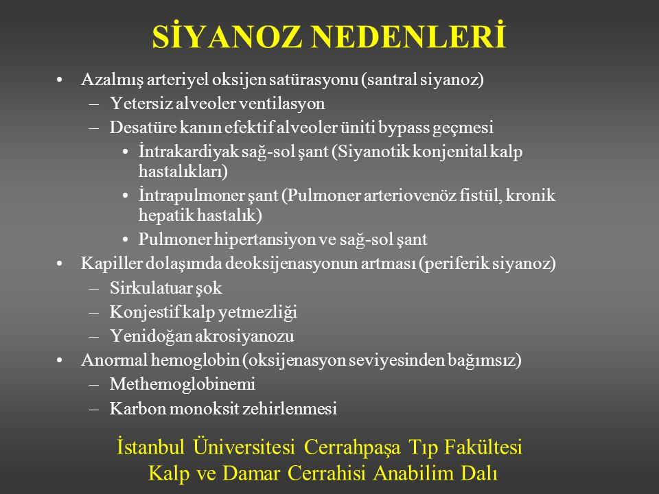 İstanbul Üniversitesi Cerrahpaşa Tıp Fakültesi Kalp ve Damar Cerrahisi Anabilim Dalı SİYANOZ NEDENLERİ •Azalmış arteriyel oksijen satürasyonu (santral