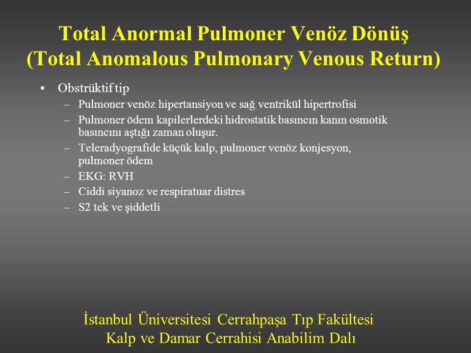 İstanbul Üniversitesi Cerrahpaşa Tıp Fakültesi Kalp ve Damar Cerrahisi Anabilim Dalı •Obstrüktif tip –Pulmoner venöz hipertansiyon ve sağ ventrikül hi
