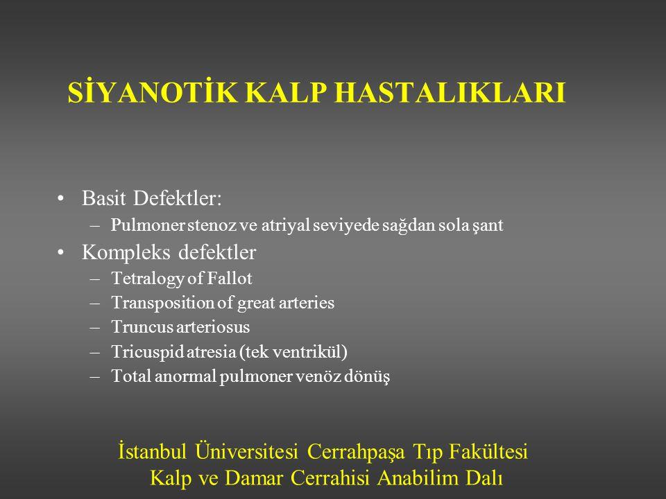 İstanbul Üniversitesi Cerrahpaşa Tıp Fakültesi Kalp ve Damar Cerrahisi Anabilim Dalı SİYANOTİK KALP HASTALIKLARI •Basit Defektler: –Pulmoner stenoz ve
