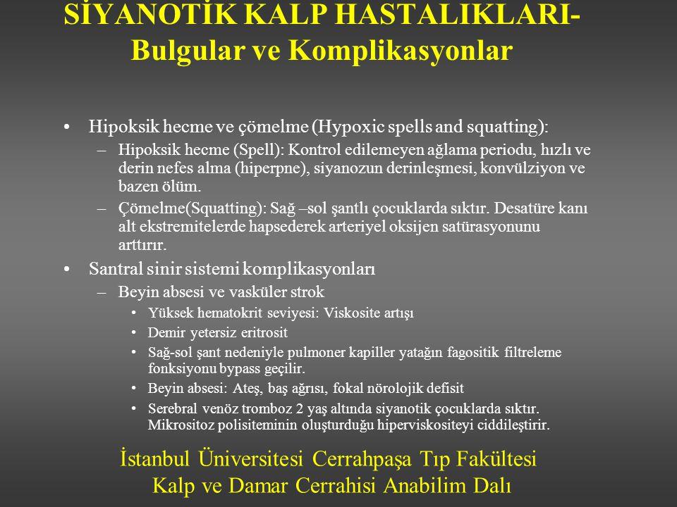 İstanbul Üniversitesi Cerrahpaşa Tıp Fakültesi Kalp ve Damar Cerrahisi Anabilim Dalı SİYANOTİK KALP HASTALIKLARI- Bulgular ve Komplikasyonlar •Hipoksi