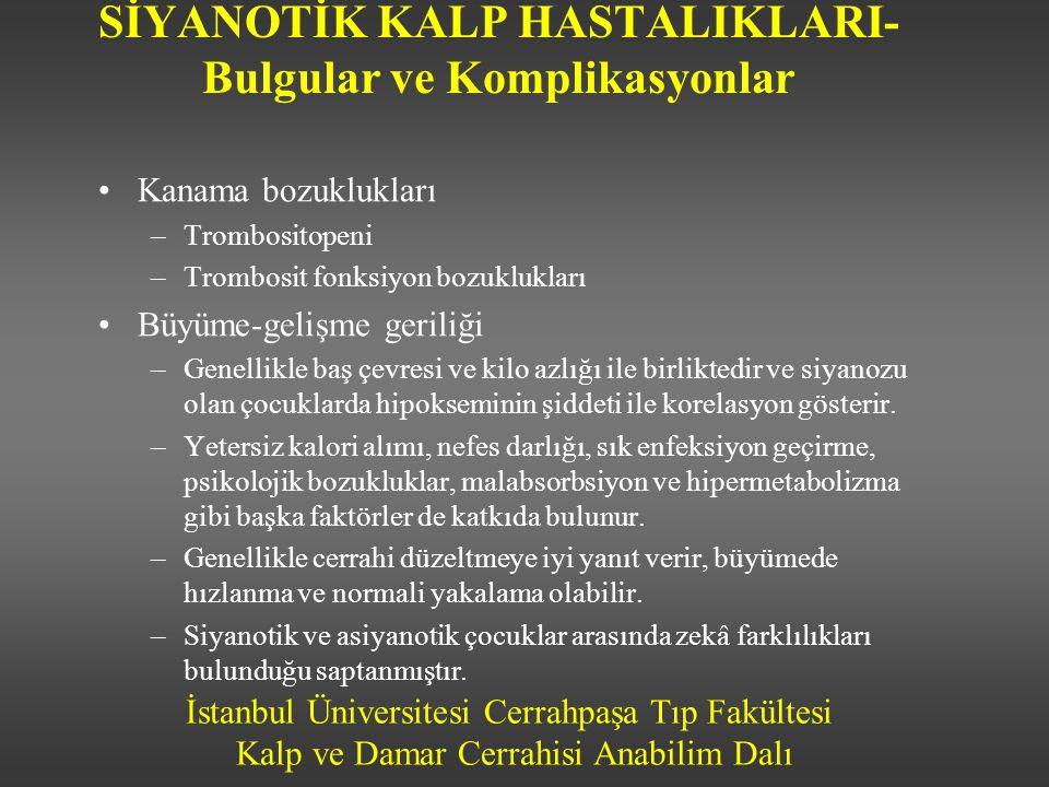 İstanbul Üniversitesi Cerrahpaşa Tıp Fakültesi Kalp ve Damar Cerrahisi Anabilim Dalı SİYANOTİK KALP HASTALIKLARI- Bulgular ve Komplikasyonlar •Kanama