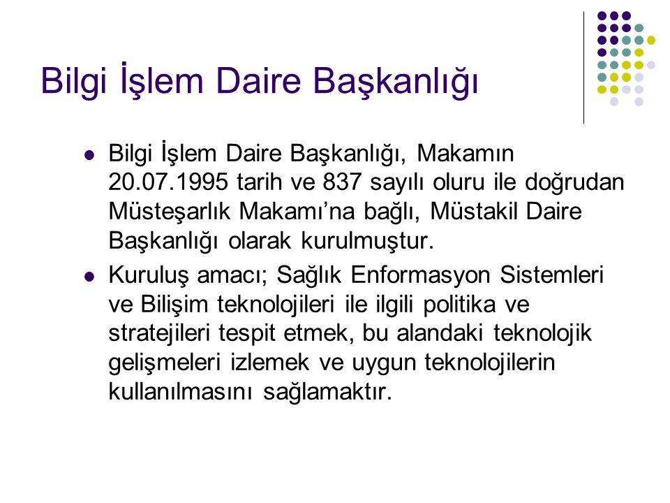 Bilgi İşlem Daire Başkanlığı  Bilgi İşlem Daire Başkanlığı, Makamın 20.07.1995 tarih ve 837 sayılı oluru ile doğrudan Müsteşarlık Makamı'na bağlı, Müstakil Daire Başkanlığı olarak kurulmuştur.