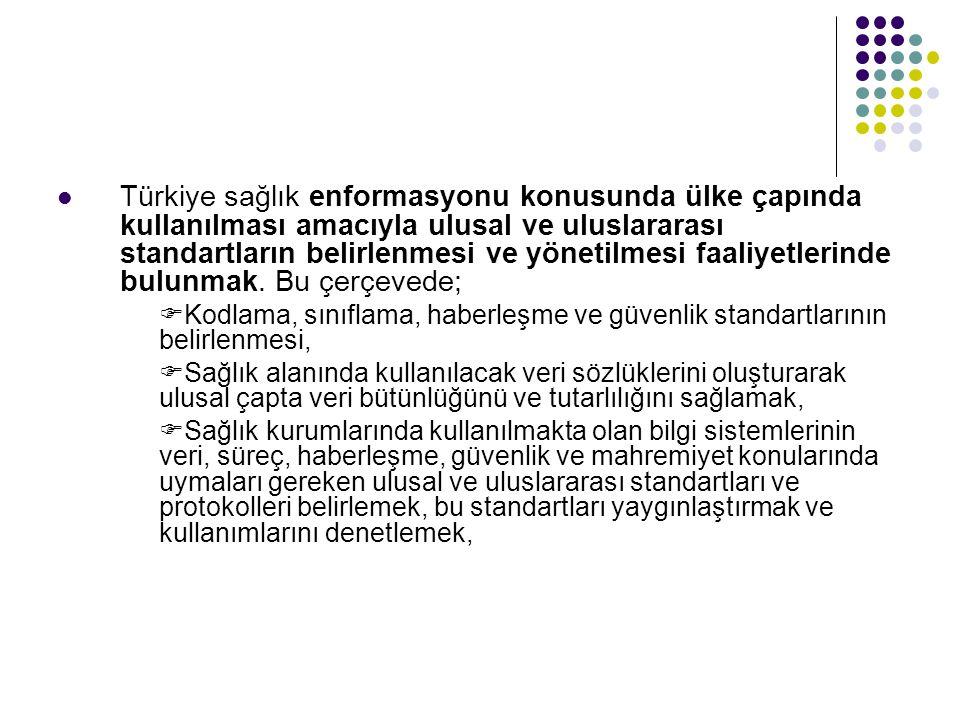  Türkiye sağlık enformasyonu konusunda ülke çapında kullanılması amacıyla ulusal ve uluslararası standartların belirlenmesi ve yönetilmesi faaliyetlerinde bulunmak.
