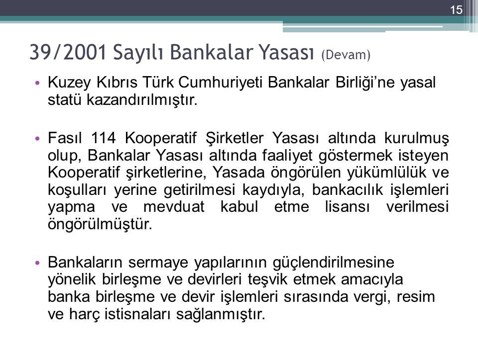 39/2001 Sayılı Bankalar Yasası (Devam) • Kuzey Kıbrıs Türk Cumhuriyeti Bankalar Birliği'ne yasal statü kazandırılmıştır.