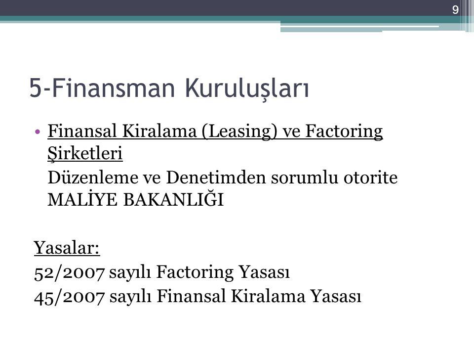 5-Finansman Kuruluşları •Finansal Kiralama (Leasing) ve Factoring Şirketleri Düzenleme ve Denetimden sorumlu otorite MALİYE BAKANLIĞI Yasalar: 52/2007 sayılı Factoring Yasası 45/2007 sayılı Finansal Kiralama Yasası 9