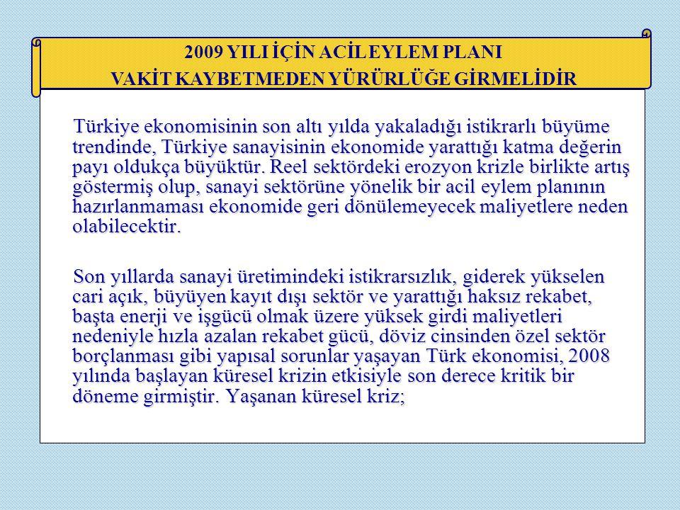 Türkiye ekonomisinin son altı yılda yakaladığı istikrarlı büyüme trendinde, Türkiye sanayisinin ekonomide yarattığı katma değerin payı oldukça büyüktü