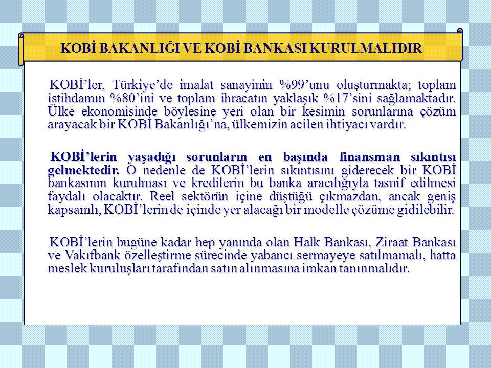 KOBİ'ler, Türkiye'de imalat sanayinin %99'unu oluşturmakta; toplam istihdamın %80'ini ve toplam ihracatın yaklaşık %17'sini sağlamaktadır. Ülke ekonom