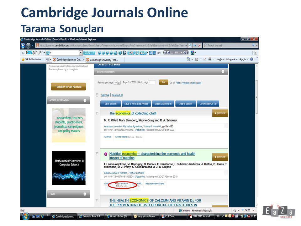 Cambridge Journals Online Tarama Sonuçları