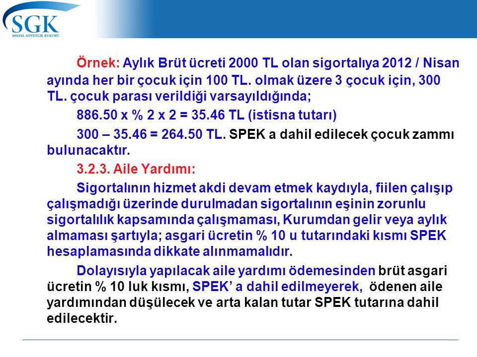Örnek: Aylık Brüt ücreti 2000 TL olan sigortalıya 2012 / Nisan ayında her bir çocuk için 100 TL. olmak üzere 3 çocuk için, 300 TL. çocuk parası verild
